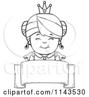 Cartoon Clipart Of A Black And White Cute Princess Girl Over A Blank Banner Vector Outlined Coloring Page
