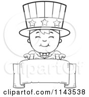Cartoon Clipart Of A Black And White Happy Uncle Sam Boy Over A Blank Banner Vector Outlined Coloring Page