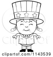 Cartoon Clipart Of A Black And White Happy Uncle Sam Girl Vector Outlined Coloring Page