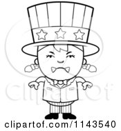 Cartoon Clipart Of A Black And White Mad Uncle Sam Girl Vector Outlined Coloring Page