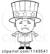 Cartoon Clipart Of A Black And White Mad Uncle Sam Boy Vector Outlined Coloring Page