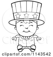Cartoon Clipart Of A Black And White Happy Uncle Sam Boy Sitting Vector Outlined Coloring Page