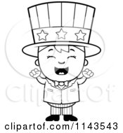 Cartoon Clipart Of A Black And White Happy Uncle Sam Boy Cheering Vector Outlined Coloring Page