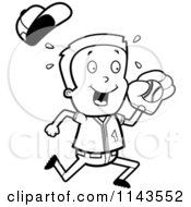 Cartoon Clipart Of A Black And White Baseball Boy Catching A Ball Vector Outlined Coloring Page