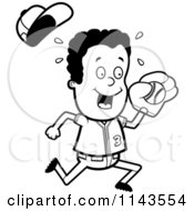 Cartoon Clipart Of A Black And White Black Baseball Boy Catching A Ball Vector Outlined Coloring Page