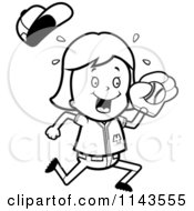 Cartoon Clipart Of A Black And White Baseball Girl Catching A Ball Vector Outlined Coloring Page