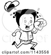 Cartoon Clipart Of A Black And White Black Baseball Girl Catching A Ball Vector Outlined Coloring Page