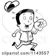 Cartoon Clipart Of A Black And White Little League Baseball Boy Catching A Ball Vector Outlined Coloring Page