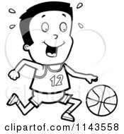 Cartoon Clipart Of A Black And White Athletic Boy Dribbling A Basketball Vector Outlined Coloring Page