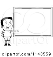 Cartoon Clipart Of A Black And White Smart School Boy Presenting A Chalk Board Vector Outlined Coloring Page