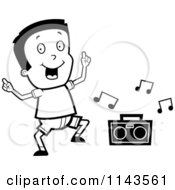 Cartoon Clipart Of A Black And White Happy Boy Dancing To Music Vector Outlined Coloring Page