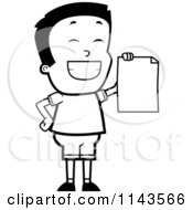 Cartoon Clipart Of A Black And White Smart School Boy Presenting His Report Card Vector Outlined Coloring Page
