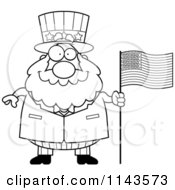 Cartoon Clipart Of A Black And White Chubby Uncle Sam With An American Flag Vector Outlined Coloring Page
