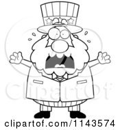 Cartoon Clipart Of A Black And White Chubby Uncle Sam Freaking Out Vector Outlined Coloring Page