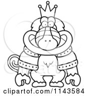 Cartoon Clipart Of A Black And White King Baboon Wearing A Crown And Robe Vector Outlined Coloring Page by Cory Thoman