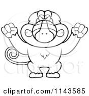 Cartoon Clipart Of A Black And White Mad Baboon Monkey Vector Outlined Coloring Page by Cory Thoman