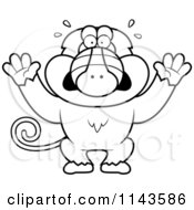 Cartoon Clipart Of A Black And White Scared Baboon Monkey Vector Outlined Coloring Page