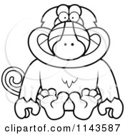 Cartoon Clipart Of A Black And White Sitting Baboon Monkey Vector Outlined Coloring Page by Cory Thoman