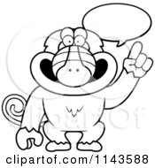 Cartoon Clipart Of A Black And White Smart Baboon Talking Vector Outlined Coloring Page by Cory Thoman