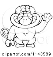Cartoon Clipart Of A Black And White Friendly Baboon Monkey Waving Vector Outlined Coloring Page by Cory Thoman
