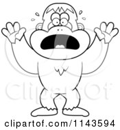 Cartoon Clipart Of A Black And White Frightened Bigfoot Sasquatch Vector Outlined Coloring Page
