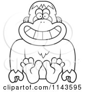 Cartoon Clipart Of A Black And White Sitting Bigfoot Sasquatch Vector Outlined Coloring Page