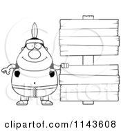Cartoon Clipart Of A Black And White Chubby Native American Man With Wooden Signs Vector Outlined Coloring Page