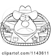 Cartoon Clipart Of A Black And White Cowboy Sheriff Vector Outlined Coloring Page