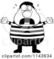 Cartoon Clipart Of A Black And White Chubby Mime Stressing Out Vector Outlined Coloring Page