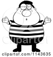 Cartoon Clipart Of A Black And White Chubby Mime Shrugging Vector Outlined Coloring Page
