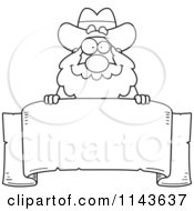 Cartoon Clipart Of A Black And White Chubby Miner Prospector Over A Parchment Banner Vector Outlined Coloring Page by Cory Thoman