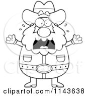 Cartoon Clipart Of A Black And White Chubby Miner Prospector Freaking Out Vector Outlined Coloring Page