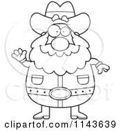 Cartoon Clipart Of A Black And White Chubby Miner Prospector Waving Vector Outlined Coloring Page by Cory Thoman