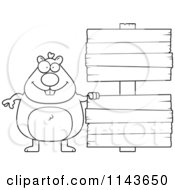 Cartoon Clipart Of A Black And White Hamster With Wood Signs Vector Outlined Coloring Page