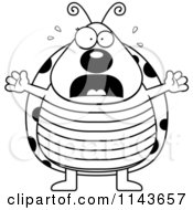 Cartoon Clipart Of A Black And White Scared Ladybug Panicking Vector Outlined Coloring Page