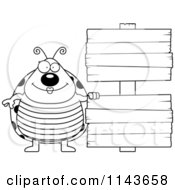 Cartoon Clipart Of A Black And White Happy Ladybug Beside Double Wooden Signs Vector Outlined Coloring Page