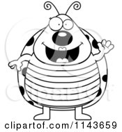 Cartoon Clipart Of A Black And White Happy Ladybug Waving Vector Outlined Coloring Page