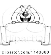 Cartoon Clipart Of A Black And White Lion Over A Banner Vector Outlined Coloring Page