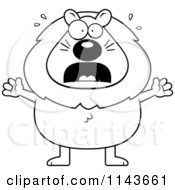 Cartoon Clipart Of A Black And White Scared Lion Vector Outlined Coloring Page