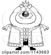 Cartoon Clipart Of A Black And White King Lion Vector Outlined Coloring Page