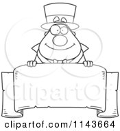 Cartoon Clipart Of A Black And White Chubby Magician Over A Blank Parchment Banner Vector Outlined Coloring Page