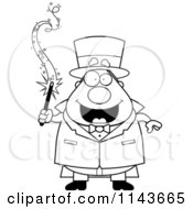 Cartoon Clipart Of A Black And White Chubby Magician Holding A Magic Wand Vector Outlined Coloring Page