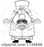 Cartoon Clipart Of A Black And White Chubby Magician Freaking Out Vector Outlined Coloring Page