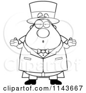 Cartoon Clipart Of A Black And White Chubby Magician Shrugging Vector Outlined Coloring Page