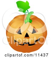 Friendly Carved Halloween Jack O Lantern Pumpkin Clipart Illustration