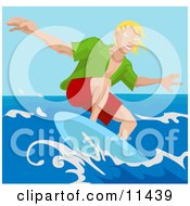 Young Surfer Dude Surf Boarding Clipart Illustration