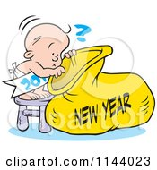 Cartoon Of A Baby Peeking Into A New Year Sack Royalty Free Vector Clipart by Johnny Sajem