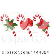 Cartoon Of Christmas Peppermint Candy Canes With Holly A Bow And Poinsettia Royalty Free Vector Clipart