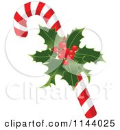 Cartoon Of A Christmas Peppermint Candy Cane With Holly Royalty Free Vector Clipart