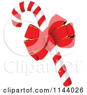 Cartoon Of A Christmas Peppermint Candy Cane With A Red Bow Royalty Free Vector Clipart